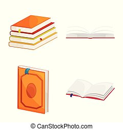 Isolated object of library and bookstore logo. Collection of library and literature vector icon for stock.