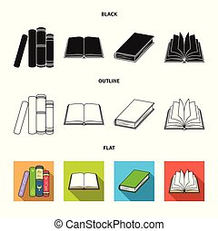 Isolated object of library and textbook icon. Collection of library and school stock vector illustration.