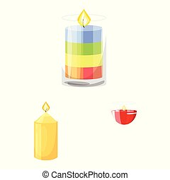 Isolated object of light and wax logo. Set of light and ceremony stock vector illustration.