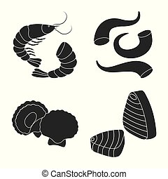 Isolated object of market and marine logo. Set of market and sea vector icon for stock.