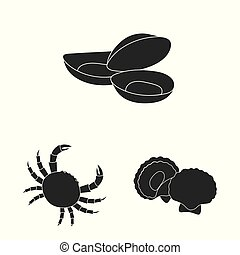 Isolated object of market and marine sign. Collection of market and sea vector icon for stock.