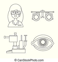 Isolated object of medicine and technology icon. Collection of medicine and eyesight vector icon for stock.