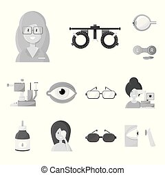 Isolated object of medicine and technology sign. Collection of medicine and eyesight stock symbol for web.