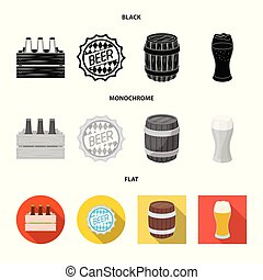 Isolated object of minimal and pint logo. Collection of minimal and craft stock vector illustration.