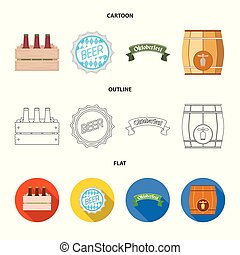 Isolated object of minimal and pint sign. Set of minimal and craft stock vector illustration.