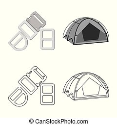 Isolated object of mountaineering and peak icon. Collection ...