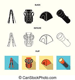 Isolated object of mountaineering and peak icon. Set of ...