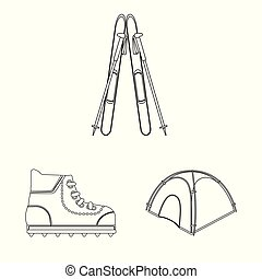 Isolated object of mountaineering and peak logo. Collection ...