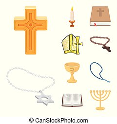 Isolated object of muslim and items icon. Set of muslim and candle stock vector illustration.
