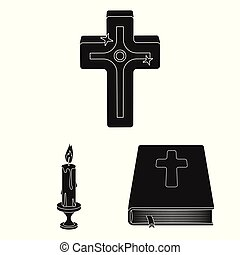 Isolated object of muslim and items sign. Set of muslim and candle vector icon for stock.