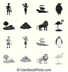 Isolated object of nature and fun icon. Set of nature and entertainment stock vector illustration.