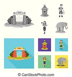 Isolated object of nature and fun sign. Set of nature and entertainment vector icon for stock.