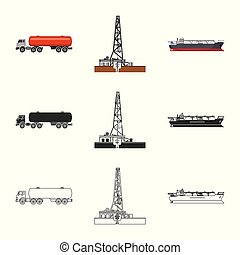 Isolated object of oil and gas icon. Set of oil and petrol...