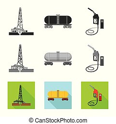 Isolated object of oil and gas logo. Set of oil and petrol...