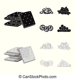 Isolated object of Oktoberfest and bar logo. Collection of Oktoberfest and cooking stock vector illustration.
