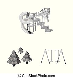 Isolated object of park and city sign. Set of park and street vector icon for stock.
