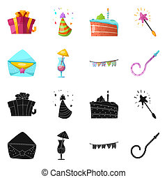 Isolated object of party and birthday logo. Collection of party and celebration stock symbol for web.