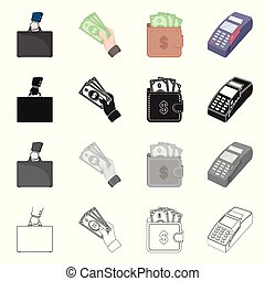 Isolated object of payment and loan sign. Set of payment and financial stock vector illustration.