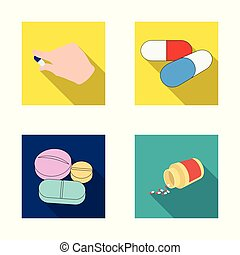 Isolated object of pill and medicine sign. Collection of pill and vitamin stock vector illustration.