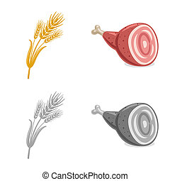 Isolated object of pub and bar logo. Collection of pub and interior stock bitmap illustration.