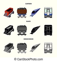 Isolated object of railroad and train icon. Collection of railroad and way stock vector illustration.