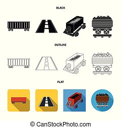 Isolated object of railroad and train logo. Collection of railroad and way vector icon for stock.