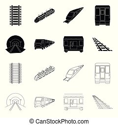 Isolated object of railroad and train sign. Collection of railroad and way stock vector illustration.