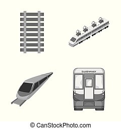 Isolated object of railroad and train sign. Set of railroad and way stock vector illustration.