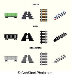 Isolated object of railroad and train symbol. Set of railroad and way stock vector illustration.