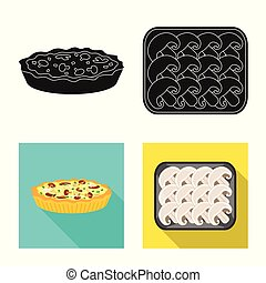 Isolated object of raw and summer icon. Set of raw and ingredient stock vector illustration.