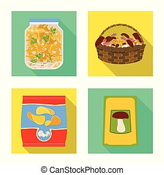 Isolated object of raw and summer icon. Set of raw and ingredient vector icon for stock.
