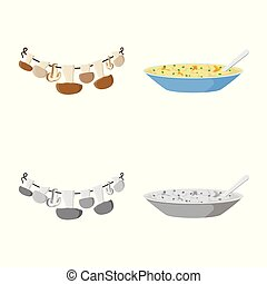 Isolated object of raw and summer symbol. Set of raw and ingredient vector icon for stock.
