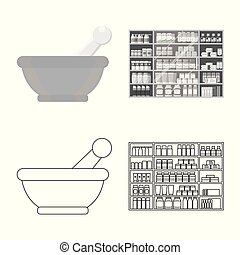 Isolated object of retail and healthcare symbol. Collection of retail and wellness vector icon for stock.