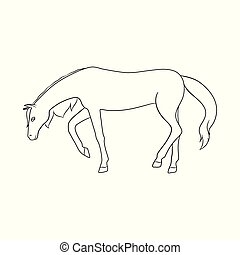 Isolated object of running and horse sign. Collection of running and hoofed stock vector illustration.