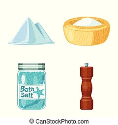 Isolated object of salt and food icon. Collection of salt and mineral stock symbol for web.