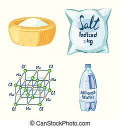Isolated object of salt and food icon. Set of salt and mineral stock symbol for web.