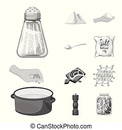 Isolated object of salt and food symbol. Collection of salt and mineral stock symbol for web.