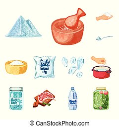Isolated object of salt and food symbol. Set of salt and mineral vector icon for stock.