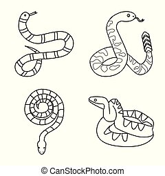 Isolated object of snake and creepy symbol. Collection of snake and danger vector icon for stock.
