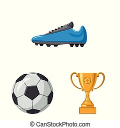 Isolated object of soccer and gear icon. Set of soccer and tournament vector icon for stock.