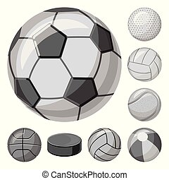 Isolated object of sport and ball sign. Collection of sport and athletic stock vector illustration.