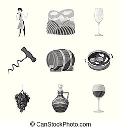Isolated object of stamp and restaurant symbol. Collection of stamp and vineyard vector icon for stock.