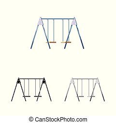 Isolated object of swing and playground symbol. Set of swing and fun vector icon for stock.
