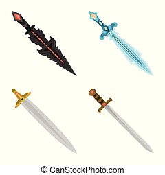 Isolated object of sword and dagger sign. Set of sword and weapon vector icon for stock.