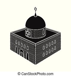 Isolated object of synagogue and judaism icon. Set of synagogue and jewish stock vector illustration.