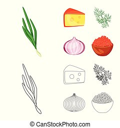 Isolated object of taste and product logo. Collection of taste and cooking vector icon for stock.