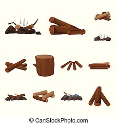 Isolated object of timber and nature symbol. Collection of timber and construction vector icon for stock.