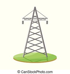 Isolated object of tower and transmission logo. Set of tower and voltage stock symbol for web.
