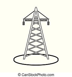 Isolated object of tower and transmission sign. Collection of tower and voltage stock symbol for web.