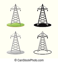 Isolated object of tower and transmission symbol. Collection of tower and voltage vector icon for stock.